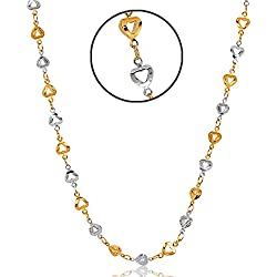 Jewels Galaxy Heart Designed 18 Kt Gold & White Italian Chain For Women
