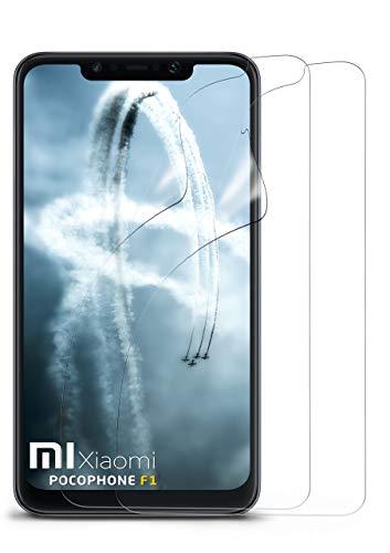 moex 2X Xiaomi Pocophone F1 | Schutzfolie Klar Bildschirm Schutz [Crystal-Clear] Screen Protector Display Handy-Folie Dünn Bildschirmschutz-Folie für Xiaomi Pocophone F1 Bildschirmfolie