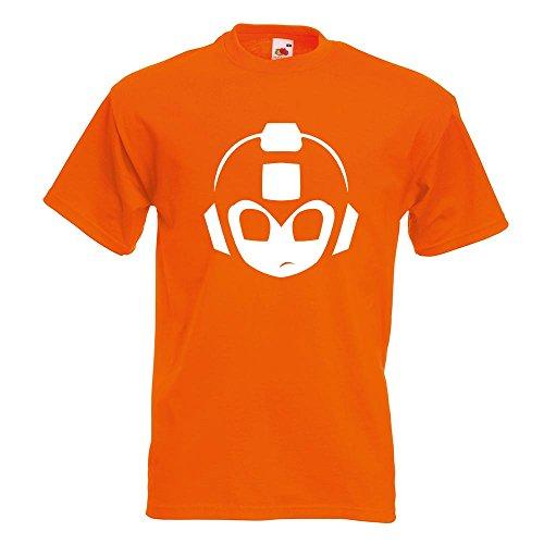 KIWISTAR - Mega Man MegaMan Kopf T-Shirt in 15 verschiedenen Farben - Herren Funshirt bedruckt Design Sprüche Spruch Motive Oberteil Baumwolle Print Größe S M L XL XXL Orange