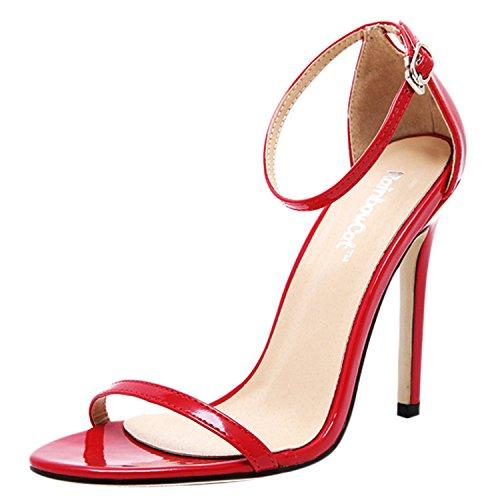 Oasap Damen Offen High Heel Knöchelriemchen Sandalen Red