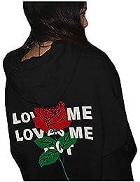 FORH Young Damen super cooler Hoodie Zurück Printed Blumenmuster Letter mit  rose Modisch Slim Mantel Tops 8d181725dc