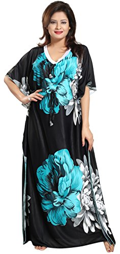 Noty™- Women's Kaftan Nighty - Floral Print (Green-Black)