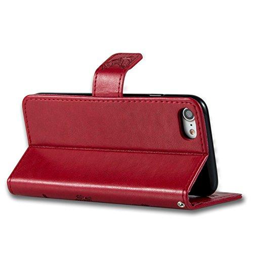 iPhone 8 Hülle Weiß 3D Mariposa Gras PU Leder Wallet Handytasche Flip Etui Schutz Tasche mit Integrierten Card Kartensteckplätzen und Ständer Funktion Für Apple iPhone 8 + Zwei Geschenk Rot