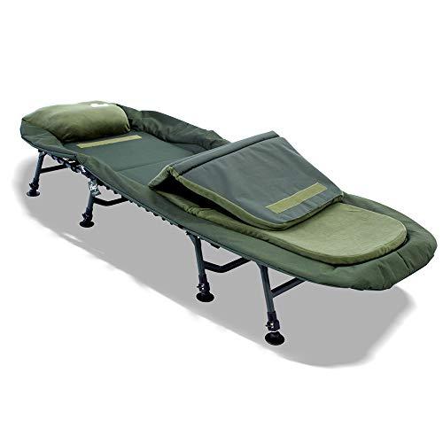 Lucx® Bedchair Angelliege Karpfenliege 8 Beine Liege mit Matratze Gartenliege Campingliege 'Master' Maße (L/B/H): 210 x 85 x 38 cm