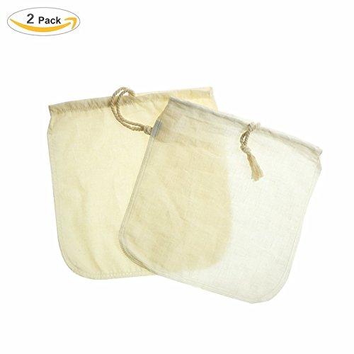 Mandelmilchbeutel - 2 Pack natürliche Hanf Tasche Nussmilchbeutel, wiederverwendbare Lebensmittel Sieb für Joghurt, Käse Tücher und Saft, natürliche Soja Milch Maker (12