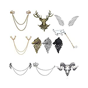 Brosche, Vintage Angel Wings Deer Wolf Cat Brooch Pin for Women Multiple Layers Chain Crown Skull Head Brooches Shirt Collar Pins Broches