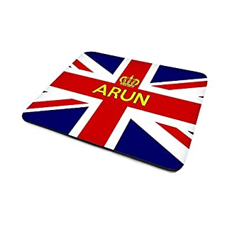 Arun, Personalised Name, Union Jack Flag (United Kingdom) And Crown Design, Mouse Mat, Size 230mm x 180mm x 5mm.