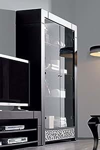 Argentier-vaisselier 2 portes contemporain CAMERON, coloris patiné gris plomb + reliefs Argent