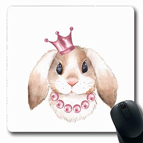 Luancrop Mousepads Rosa Mädchen-Kaninchen-Kronen-Aquarell-Königin-Bauernhof bördelt rutschfeste Spiel-Mausunterlage-Gummilanggummimatte des Prinzessin-Bunny Sketch Design Hare -