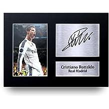 Marco del Real Madrid con foto de Cristiano Ronaldo firmada, tamaño A4–gran Idea de regalo