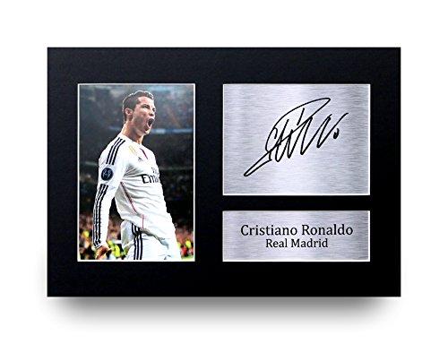 Cristiano Ronaldo Firmado A4impreso Real Madrid foto pantalla–gran Idea de regalo