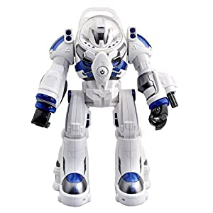 TOYEN Spaceman RC Robot with Shoots Soft Rubber Missiles, Flashing Lights and Sound, Walking Talking and Dancing