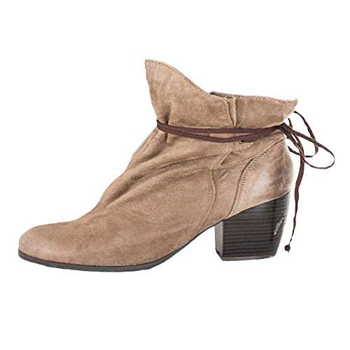OSYARD Bottes et Bottines Femme Bottes Femme Plates Chaussures Lacets Cuisses Haut Tessons Bottes de Moto Chaussures(Kaki,38.5 EU)
