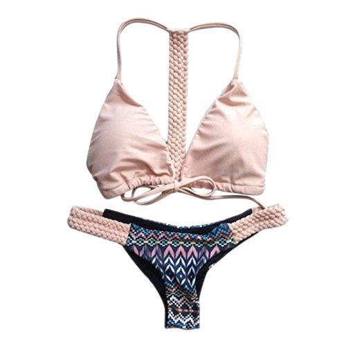 Btruely Bikini Sets Damen Push Up Neckholder BH Bademode Beachwear Blumen Badeanzug Reizvolle Strandkleidung (M, Rosa) Blume Neckholder
