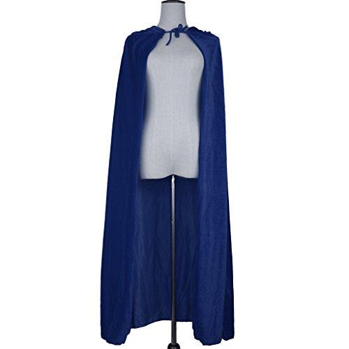 MagiDeal Erwachsene Kinder Halloween Hexe Umhang Samt Karneval Fasching Zauberer Kostüm Cape mit Kapuze - Blau
