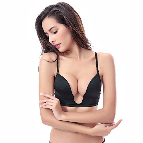 c98c8235e6b17d YANDW Push up Deep Plunge U Bra Plus Size for Women with Convertible  Transparent Straps(Black,34C)