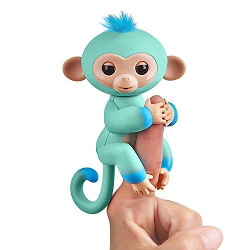 Fingerlings zweifarbiges Äffchen grün mit blau Eddie 3724 interaktives Spielzeug, reagiert auf Geräusche, Bewegungen und Berührungen