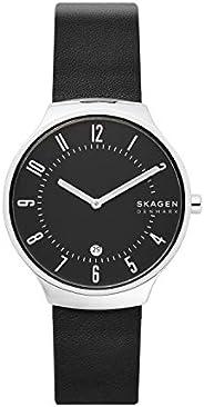 ساعة سكاجين جرينين للرجال مينا اسود جلد انالوج - SKW6459