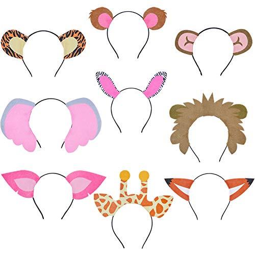 Löwen Frauen Kostüm Niedliches - Beinou 9 STÜCKE Tier Stirnbänder Filz Ohren Stirnband Haarreif Fuchs Bär AFFE Löwen Ohren Haarbänder Halloween Kostüm Party Zubehör für Mädchen Kinder Erwachsene