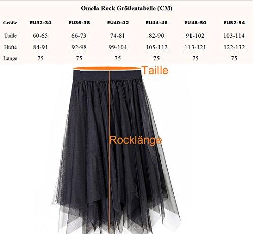 Omela Damen Tüll Rock Asymmetrisch Vintage Rockabilly Swing Rock Faltenrock Knielanger Schwarz