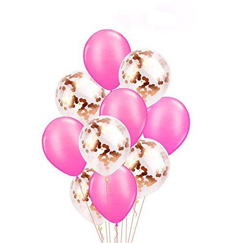 Rosennie 10 Stücke 12 Zoll Folie Latex Konfetti Ballon Set Folienballon für Mädchen Junge Baby How Luftballons Freundin Tochter Luftballon für Geburtstag Jubiläum & Party Geschenk Dekoration (D)