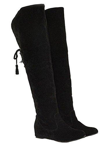 Minetom Mujer Invierno Moda Calentar Botas De Nieve Slouchy Botas De Piel Cargadores De La Rodilla Negro EU 41