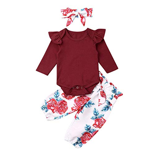 Neugeborenes Baby Mädchen solide Geraffte Strampler Floral Hosen Freizeitkleidung Set (Leder Jacke Teddy Bär)