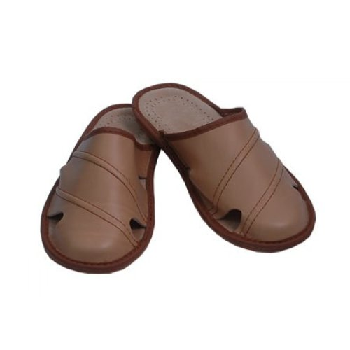 Pantofole Da Uomo Ciabatte In Pelle Muli Beige M19