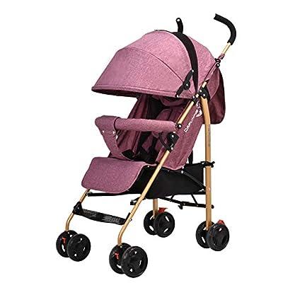 NAUY @ La Carretilla del bebé Puede Sentarse y acostarse Ultraligero Plegable Baby Buggy portátil Mini Simple Cochecito + Funda de Goma + la Cubierta para la Lluvia Sillas de Paseo