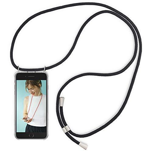 RebelCords Handykette kompatibel mit iPhone 7 Plus/iPhone 8 Plus | Smartphone Handykette | Handyhülle | Schutzhülle | Case mit 1.5m Band | Farbe: Schwarz -