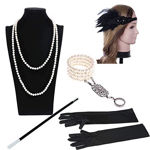 Jahre Zubehörset Flapper Kostüm Feder Retro Stirnband/Perlenkette/Perlenarmband Ringe/Handschuhe/Zigarettenhalter 20s Kostüme Inspiriert Accessoires Schwarz ()
