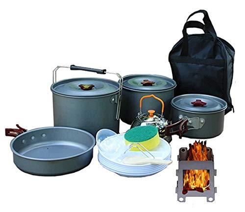 STOVESs Camping Kochgeschirr, Outdoor Picknick Set Topf 6-8 Personen Camping Kochgeschirr Teekanne Set Pot Hängen Set Pot, Holzofen für Outdoor-Wandern Picknick BBQ