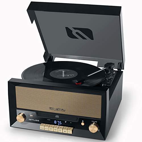 Muse MT-110 B Retro Stereo-Anlage mit Plattenspieler, Bluetooth, CD-Player und Radio mit USB für Wiedergabe und Aufnahme, schwarz