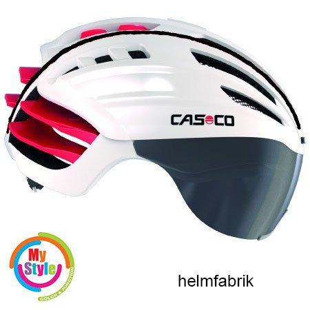 Casco Speedairo Rennradhelm weiss-rot Biese schwarz incl. Visier und Hardcase, Größe L (59-63cm)