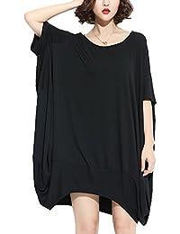 ELLAZHU Femme Mid-Longue Personalite Hem Solide PlusTaille T-shirt GA200