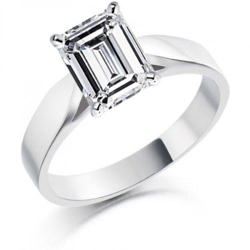 Diamond Manufacturers, Damen, Verlobungsring mit 0.25 Karat E/VS1 feinem und zertifiziertem Smaragddiamant in 18k Weißgold, Gr. 41 - 2