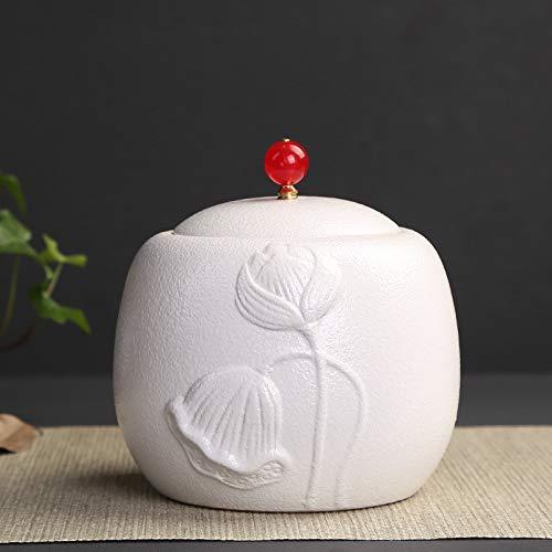 Keramik Relief Tee Dosen vakuumversiegelt/Tee Vorratsbehälter/Tee Zucker oder Kaffeebehälter mit Deckel 12 * 12cm,Weiß