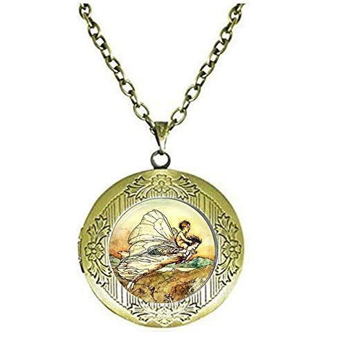 Halskette mit Medaillon, Fee mit Babymedaillon, Fotokunstschmuck, Shakespeares Mitsommer-Nächte, Traum-Andenken -