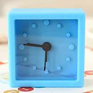 Cute Mini Candy Color Soft Silicone Quadrate Dial Alarm Clock - Eight Colors for Choice