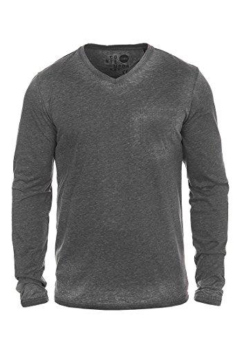!Solid Them Herren Longsleeve Langarmshirt mit V-Auschnitt Aus Hochwertiger Baumwollmischung Meliert, Größe:XXL, Farbe:Black (9000) (Tee Baseball V-ausschnitt)
