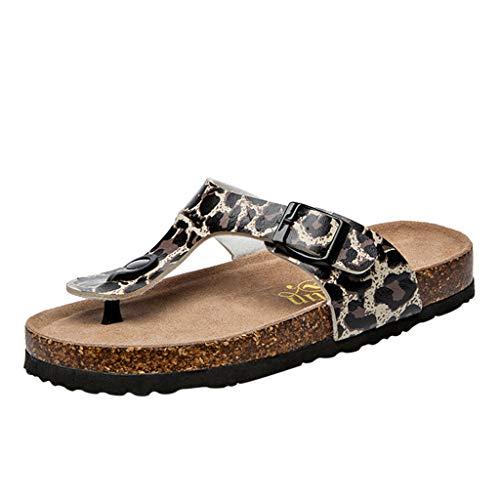 ♥ Bottes et Bottines Tongs Femmes Sangle Double Boucle Chaussures de Plage léopard d'été Sandales Plates