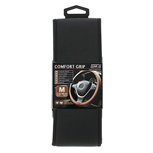 HABILL-AUTO Couvre Volant Simili Cuir Noir Car+ pour Volant 37/38cm