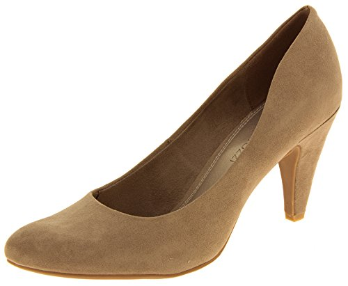 Femmes Marco Tozzi Faux suède moyen talons court chaussures Taupe