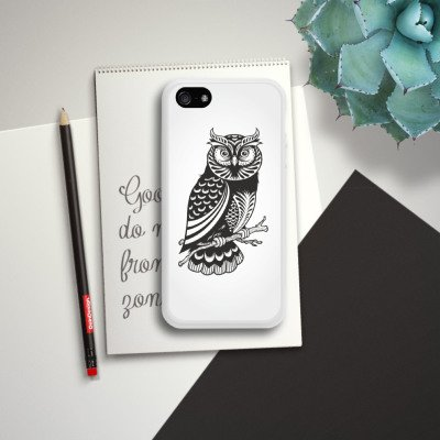 Apple iPhone 5s Housse étui coque protection Hibou Hibou Hibou Housse en silicone blanc