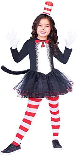 Fancy Me Mädchen Offiziell Dr Seuss Katze im Hut Tutu Rock Kleid Welttag des buches-Tage-Woche TV Buch Film Karneval Tier Kostüm Kleid Outfit 4-12 Jahre - 10-12 ()