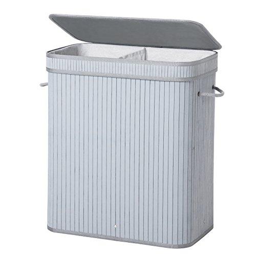 SONGMICS Wäschekorb aus Bambus, 100 L Wäschesortierer mit 2 Fächern, faltbarer Wäschesammler, mit herausnehmbarem Wäschesack, rechteckige Wäschebox, 52 x 63 x 32 cm, grau, LCB64GY