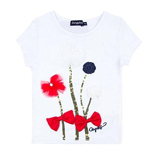 Conguitos Flores, Camiseta para Niñas, Blanco, 5A