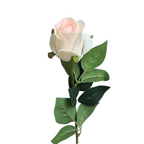 Künstliche gefälschte Rose Blume VENMO Brautstrauß Hochzeitsfest Lange Rosen Wohnkultur Blumen Hochzeitsstrauß Braut Hortensien Dekor Hausgarten Party Blume Dekoration stieg (Beige)