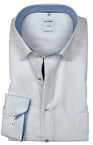 OLYMP Luxor Comfort Fit Hemd Langarm Kragen mit hellblauem Besatz Weiß Weiß