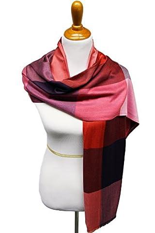 XXL Damen Schal Seidenschal Tuch kariert Karoschal checked Scarf Jacquard Style Halstuch Poncho Pashmina super weich in verschiedenen Farben Größe 215cm x 80cm von DesiDo®
